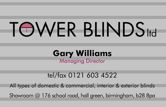 Tower Blinds Business Card